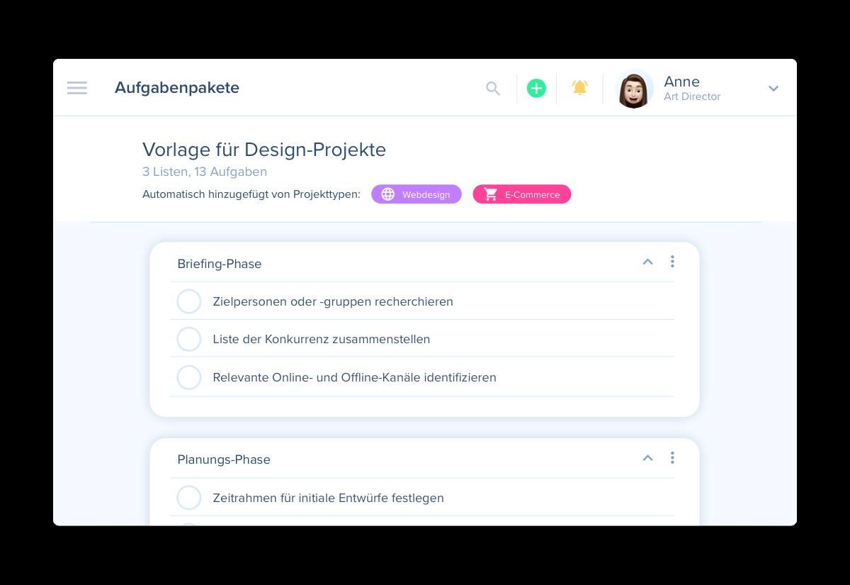 Task-Bundles als Projektvorlagen in awork