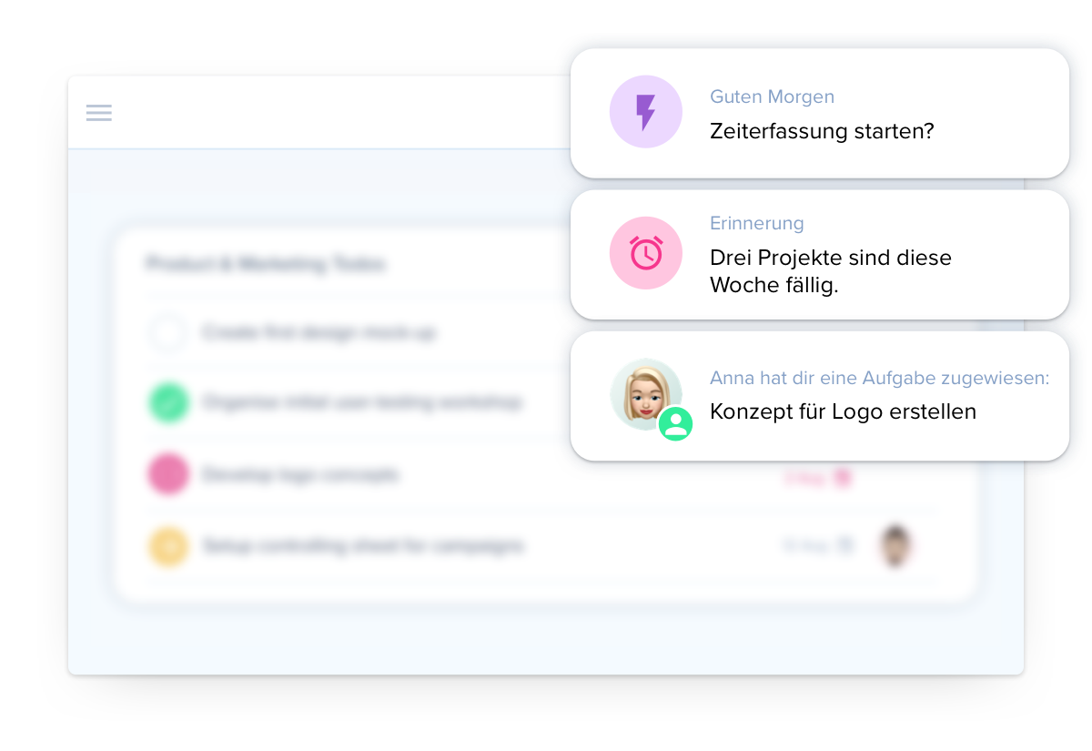 Smarte Notifications über die Projektmanagement Software awork