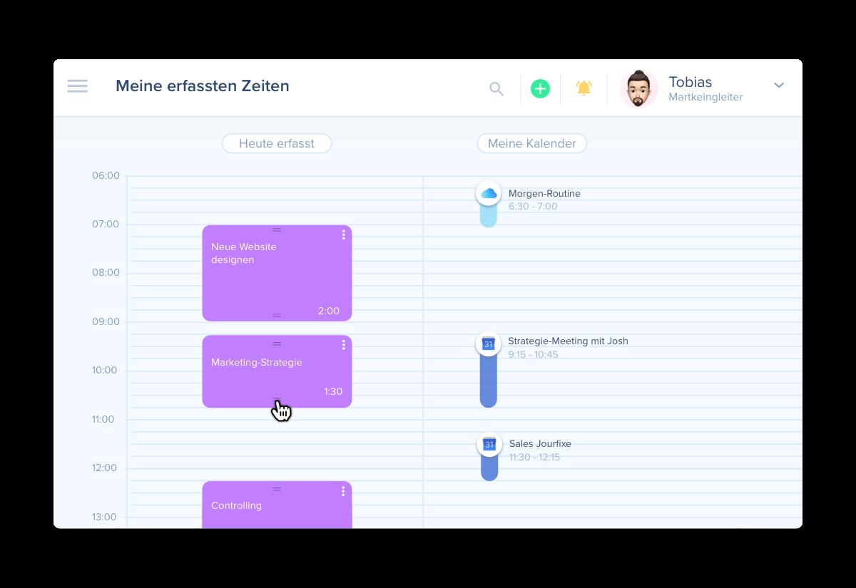 Mit awork, der Alternative für dein Projektmanagement kannst du Zeiten üben den Kalender erfassen
