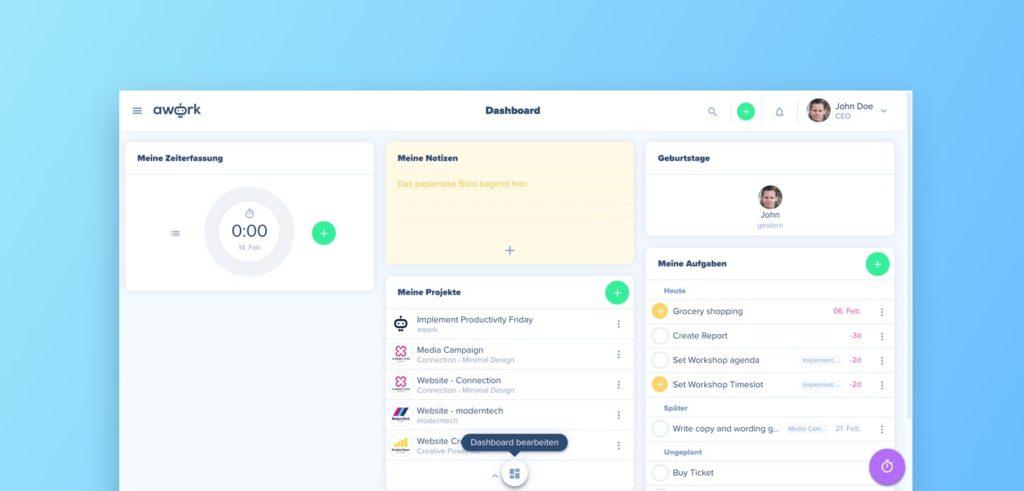 Dein Custom Dashboard lässt sich mit nur einem Klick bearbeiten und an deine individuellen Bedürfnisse anpassen.